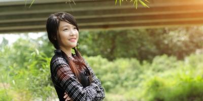 Vietnamese girl looking happy