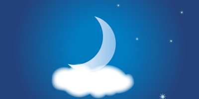 night sky illustration with moon resting on cloud and stars