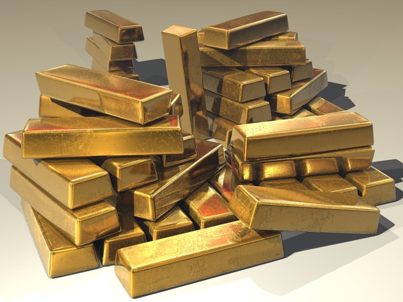 gold bars piled high