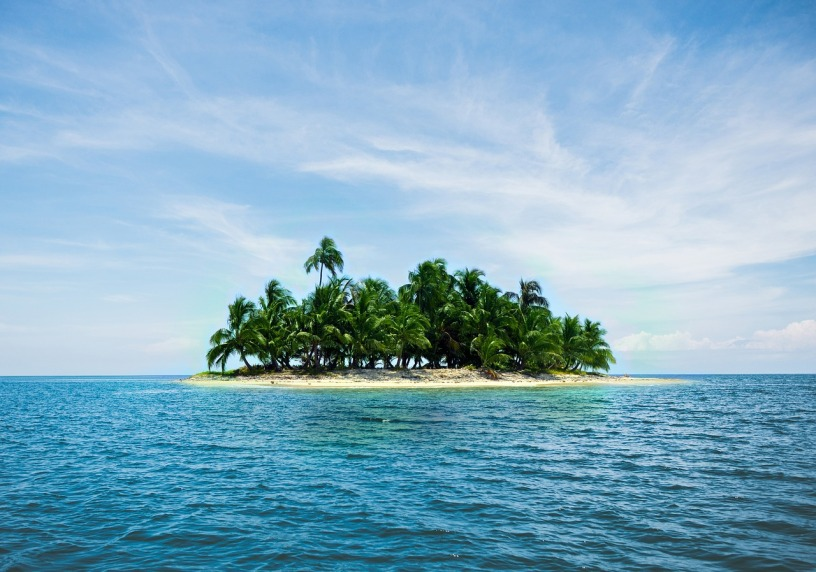 An island in the middle of the ocean with sand and trees