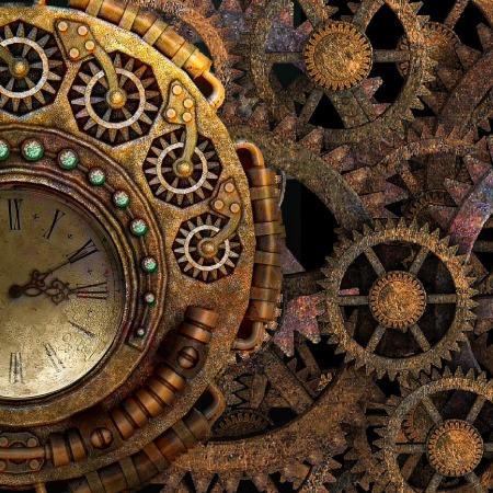 metal clock and gears