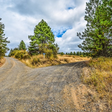 fork in the road; gravel road