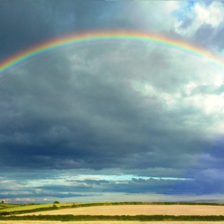 full rainbow and partial double rainbow