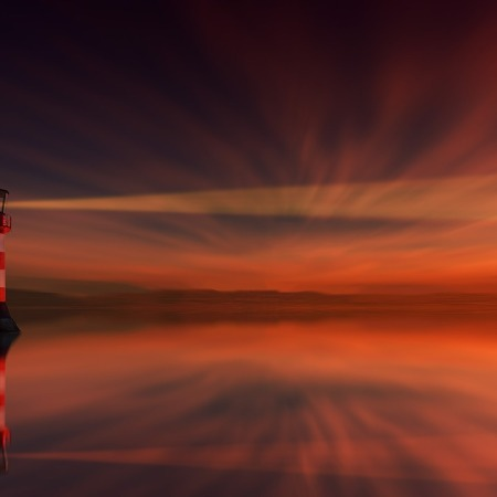 Red and White light house beaming a light at sunset