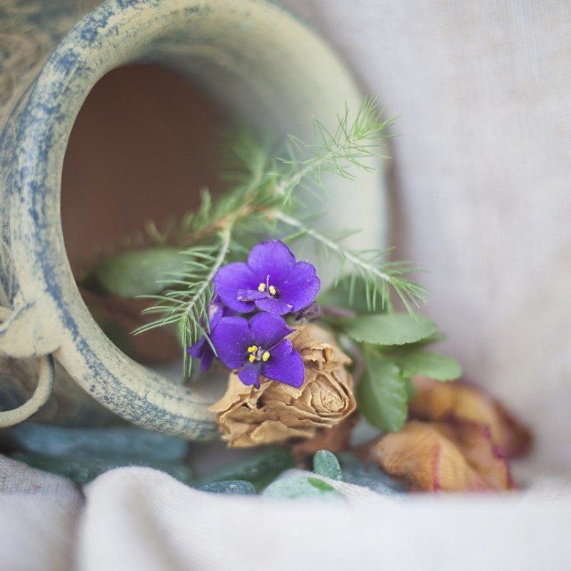 Blue clay pot laying down on muslin fabric with dried roses and a bright purple flower.
