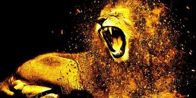 Stylized male lion roaring set against a black background