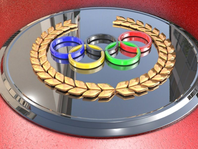 The Olympic rings on silver