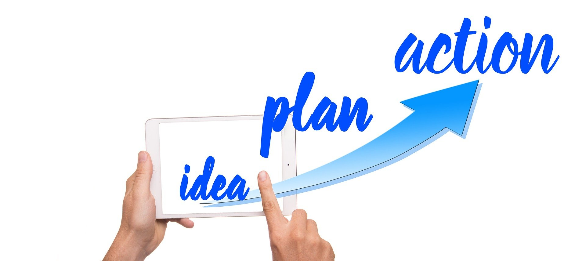 Woman holding tablet scrolling idea, plan, action